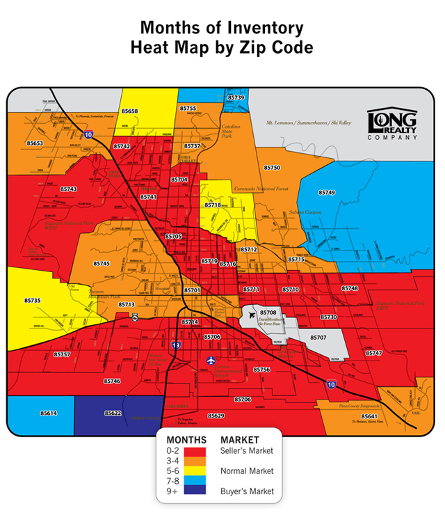 Months of Inventory Heat Map by Zip Code