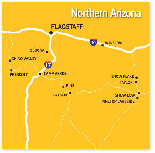 Communities And Cities In Northern Arizona Long Realty A - Map of arizona with cities